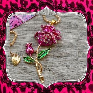 Betsey Johnson Rose Pink Crystal Flower Pendant